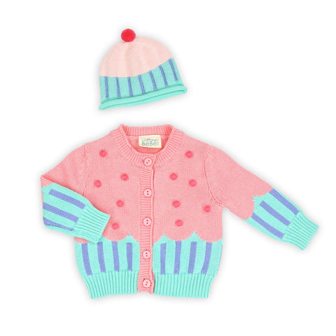 Cup Cake Cardigan and Hat Gift Set