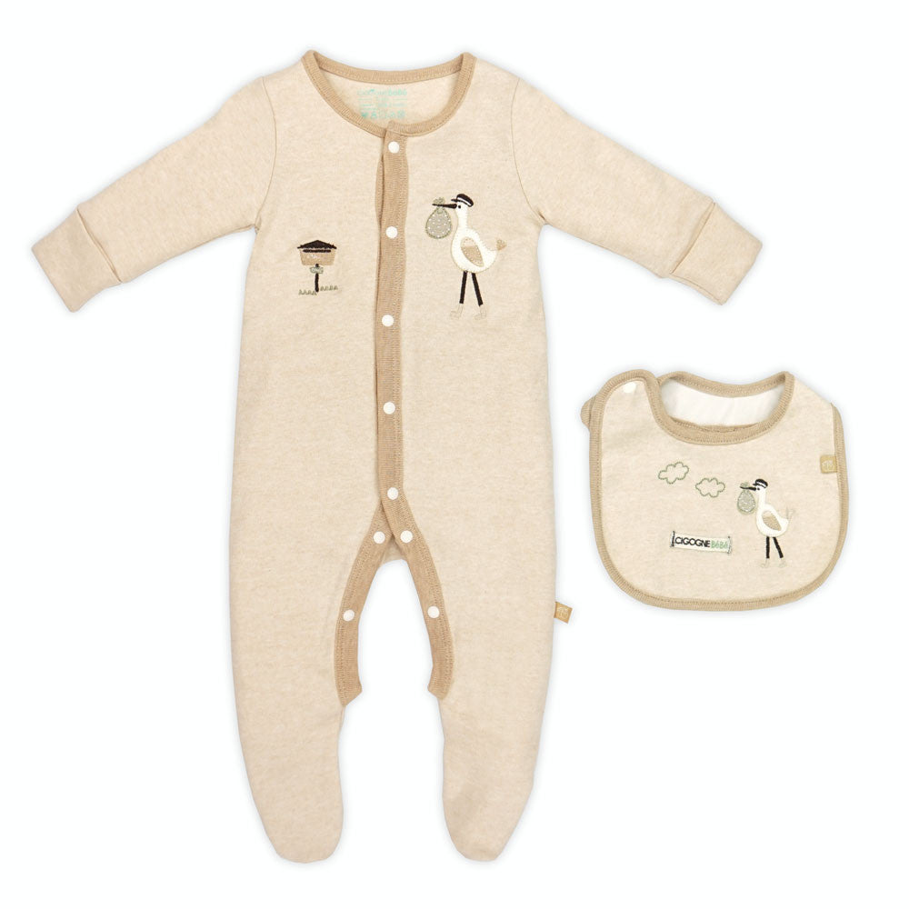 Organic Postman Romper and  Bib Set
