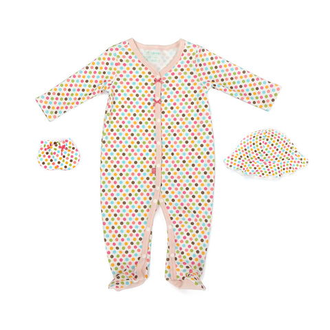 Cheerful Rainbow Long Sleeve Romper, Mittens and Hat 3-piece set
