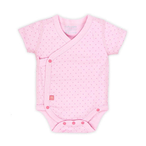 Short Sleeve Wrap Bodysuit - Pink