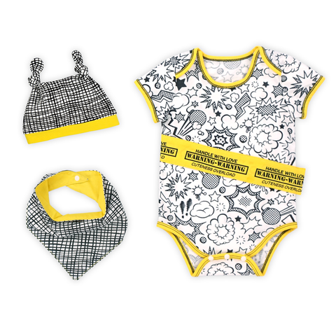 Super Baby Bodysuit, Hat and Bib Set