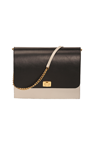 FLAP BAG: Bone and Black