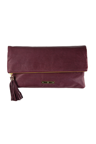 CONVERTIBLE CLUTCH: Oxblood