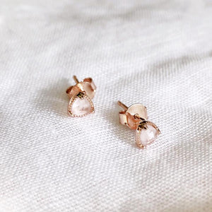 Rose Quartz Mini Stud Earrings