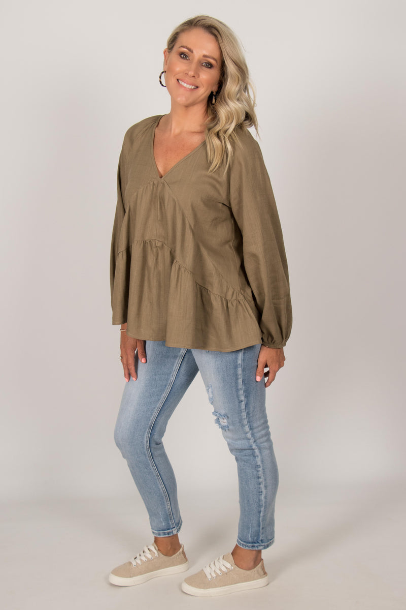 Abby Top in Khaki