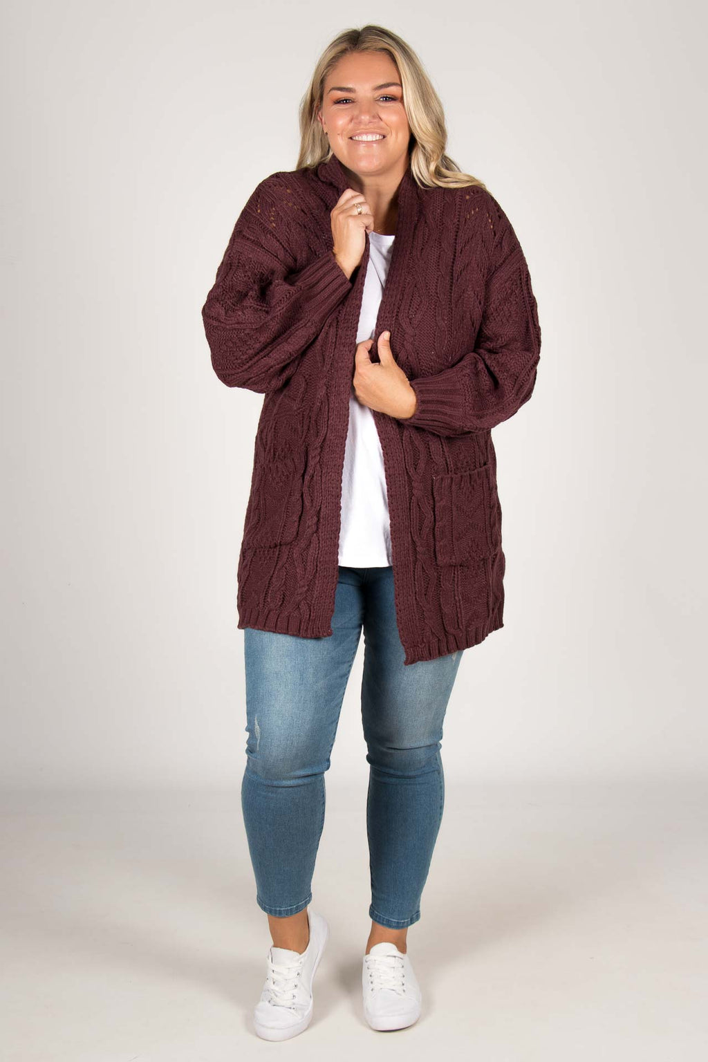 Inspire Cardi in Mulberry