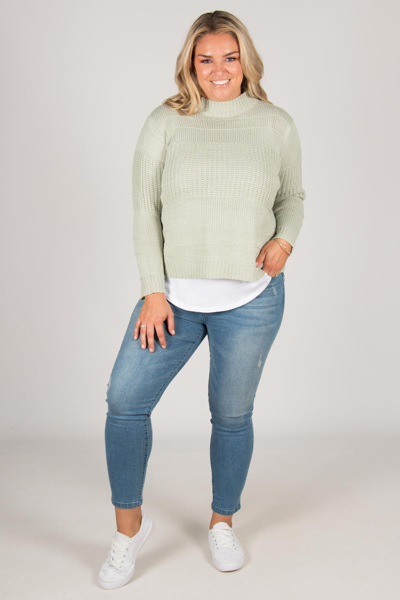 Calen Knit Jumper in Sage