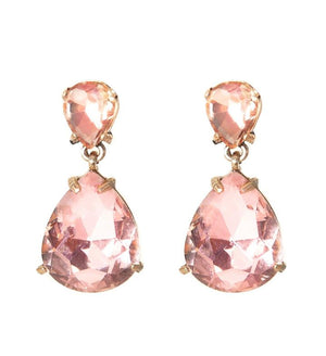 Crystal Teardrop Statement Earrings in Blush