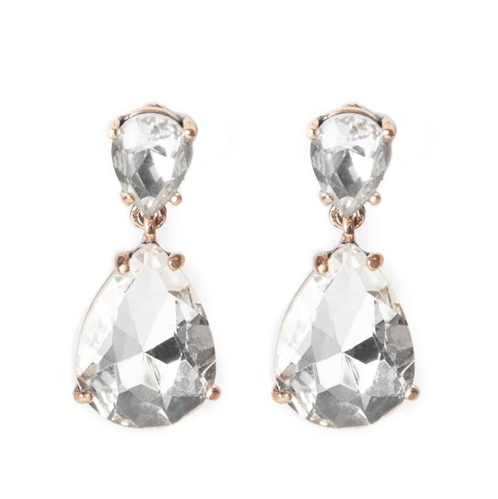 Crystal Teardrop Statement Earrings in Silver