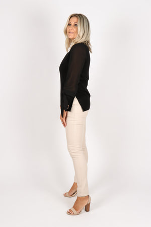 Romance Knit Top in Black