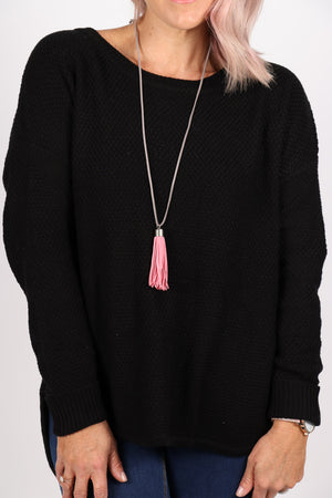 Adore Tassel Necklace Pink/Grey