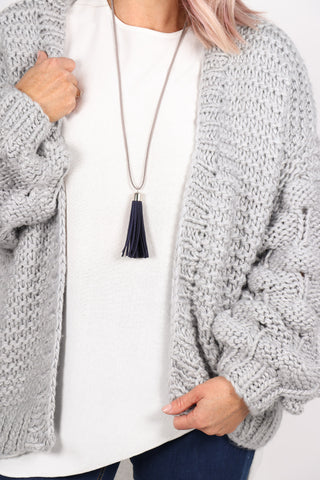 Adore Tassel Necklace Navy/Grey