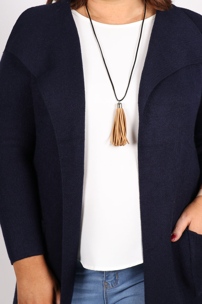 Adore Tassel Necklace Tan/Black