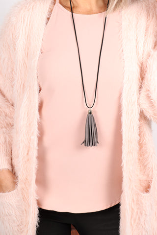 Adore Tassel Necklace Grey/Black