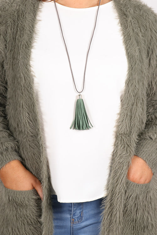 Adore Tassel Necklace Khaki/Grey