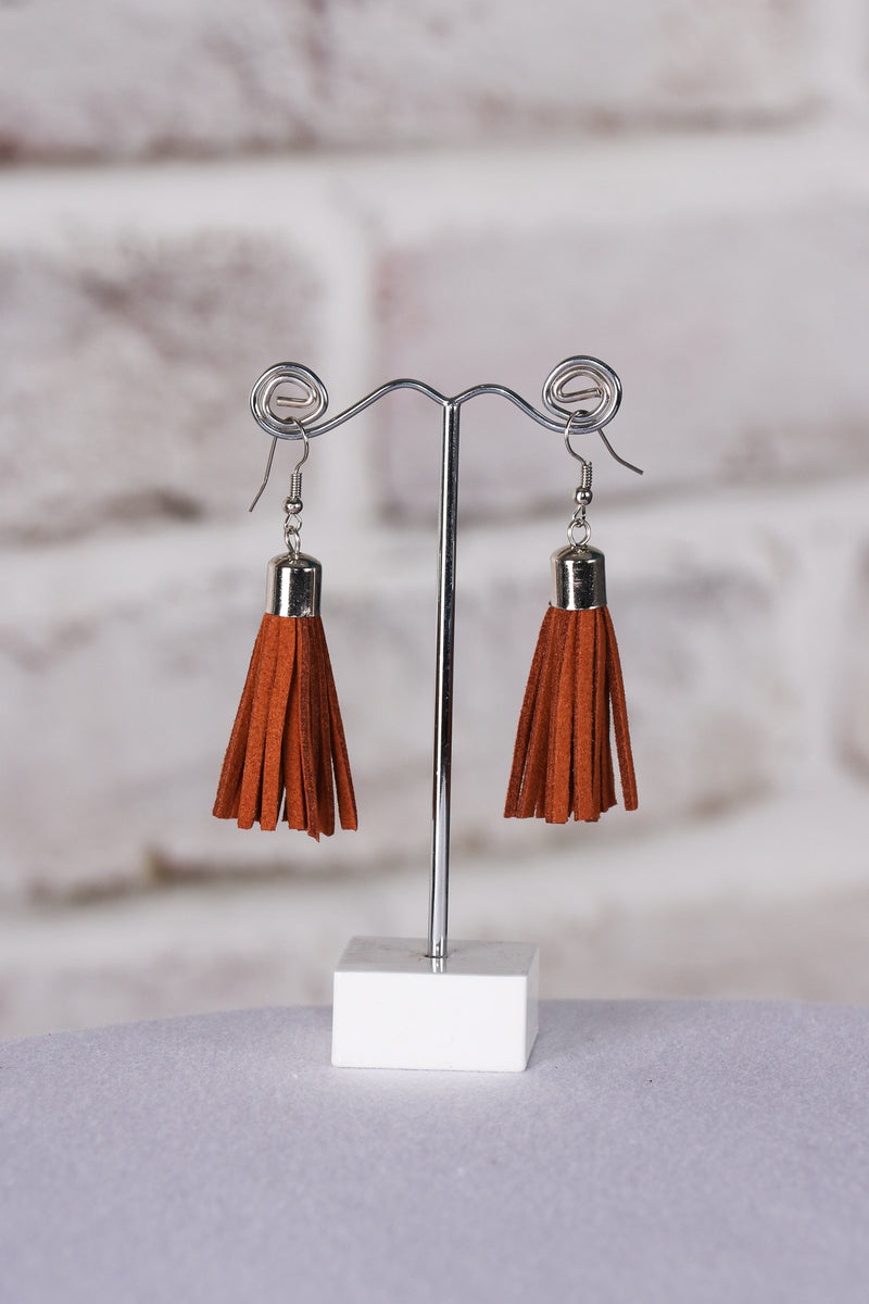 Admire Tassel Earrings in Dark Tan