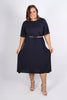 Athena Midi Dress in Navy