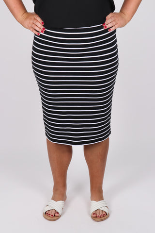 Alicia Midi Skirt in Black Stripe