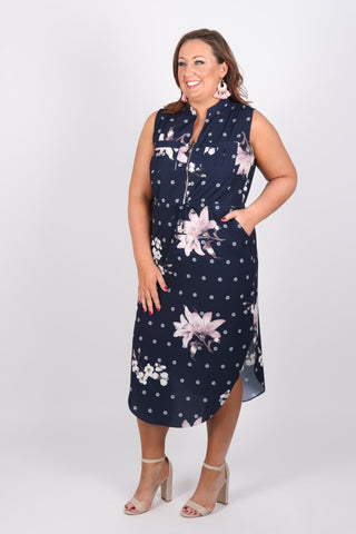 Envy Midi Dress in Navy Saint