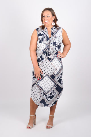 Envy Midi Dress in Navy Moroccan