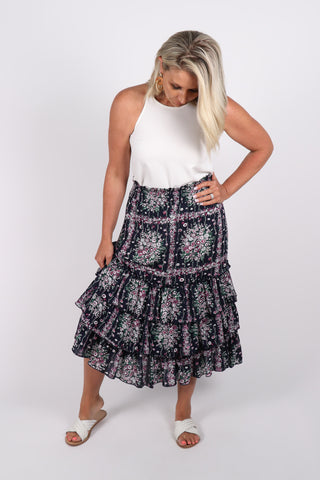 Cierra Skirt in Navy Floral