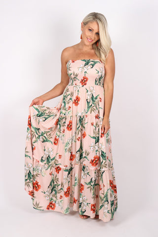 Berry Maxi Dress in Soft Apricot
