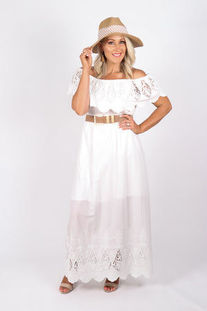 Louisa OTS Dress in White