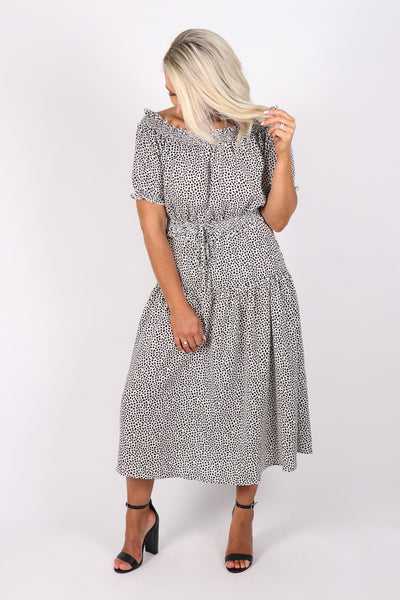 Moonside OTS Dress in White/Black