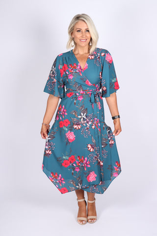 Illusions Wrap Dress in Waikiki Floral
