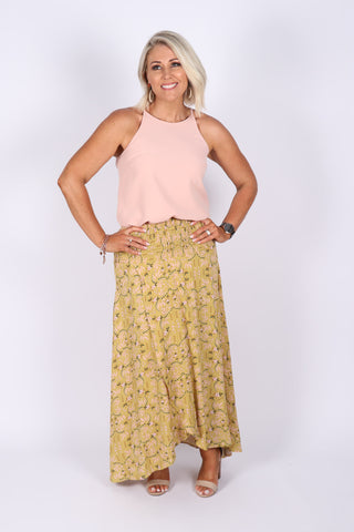 Eliza Maxi Skirt in Lime