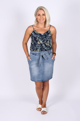 Archer Denim Skirt in Dark Indigo