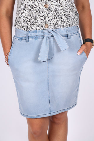Archer Denim Skirt in Sky Blue