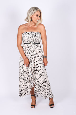 Allira Maxi Dress in Black Spot