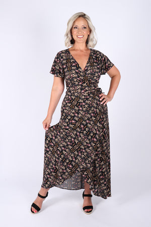 Eliza Wrap Maxi Dress in Black