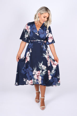 Californian Wrap Dress in Navy