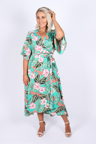 Fantasy Wrap Dress in Aqua Green