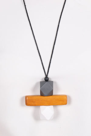 Elements Necklace Grey/Wood/White