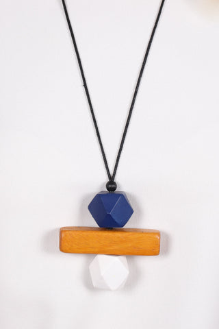 Elements Necklace Navy/Wood/White