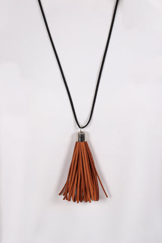 Adore Tassel Necklace Dark Tan/Black