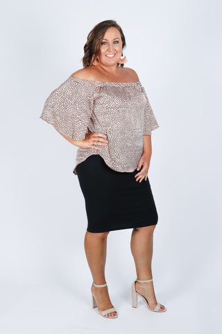 Kellie OTS Top in Blush Spot