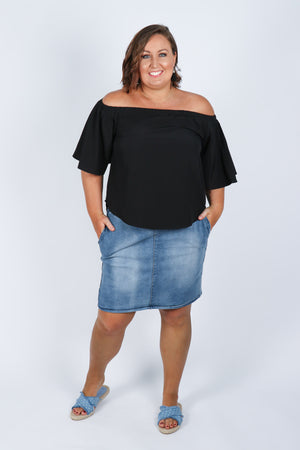 Kellie OTS Top in Black