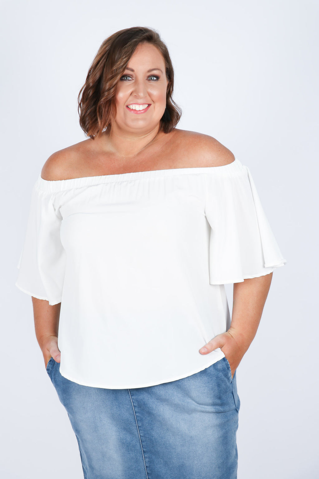 Kellie OTS Top in White