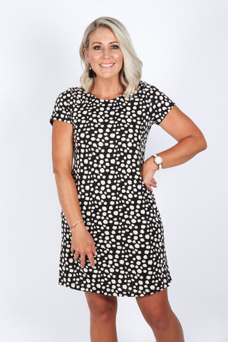 Sally Shift Dress in Black Pebble