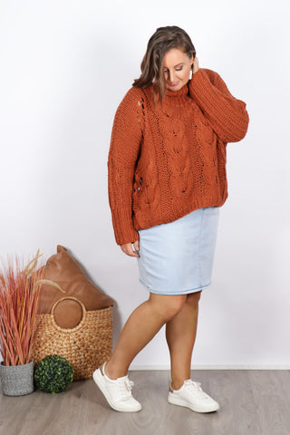 Ivy Roll Neck Knit in Rust
