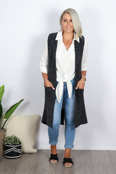 Philippa Long Knit Vest in Charcoal