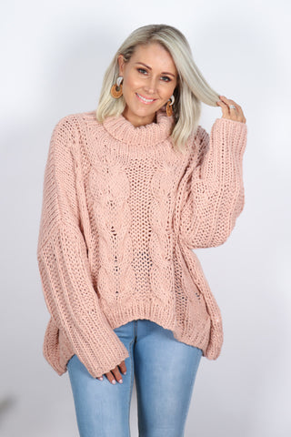 Ivy Roll Neck Knit in Pink