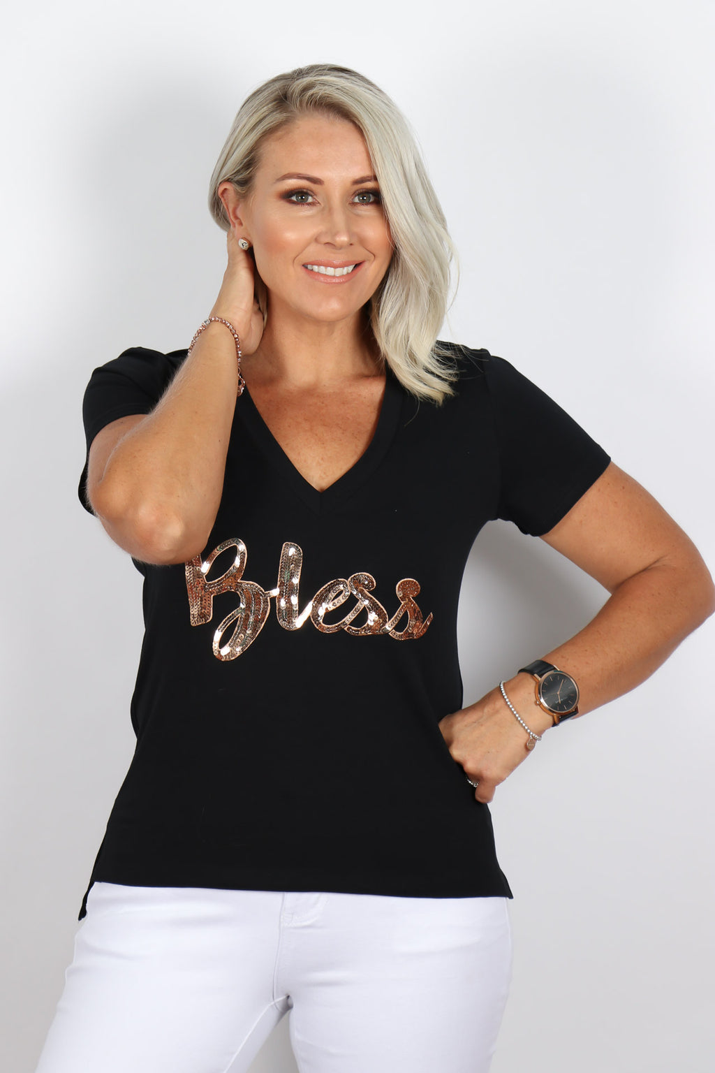 Bless Tee in Black