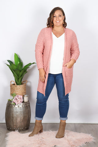 Impressions Knit Cardi in Rose