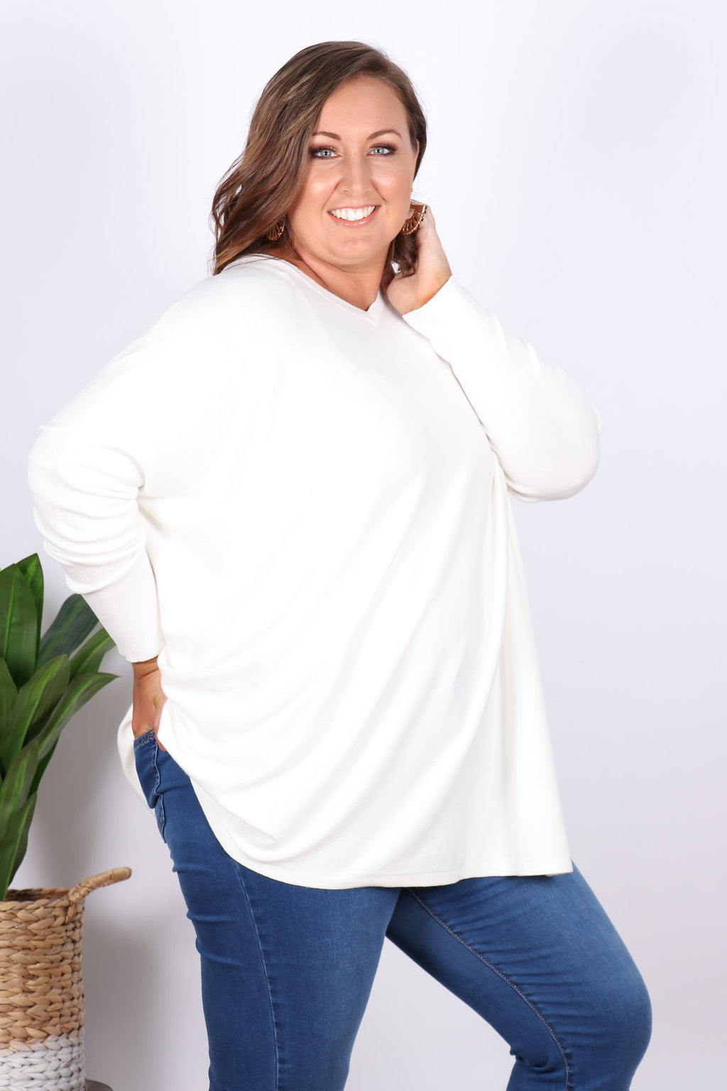 Ella Knit Tunic in Off White