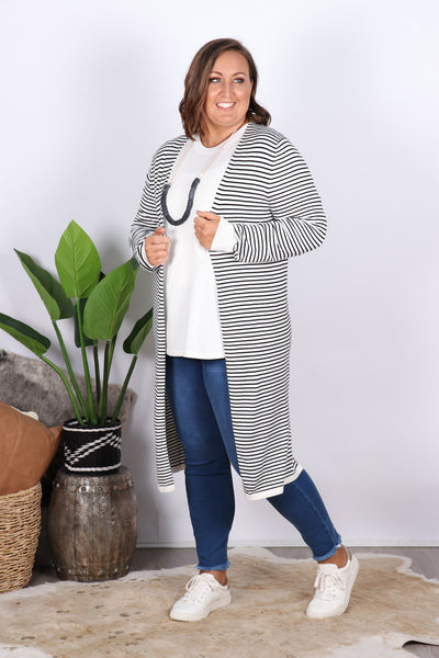 Leah Knit Cardigan in White/Black Stripe